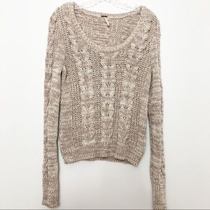 Free People Cable Knit Sweater Tan Size Medium